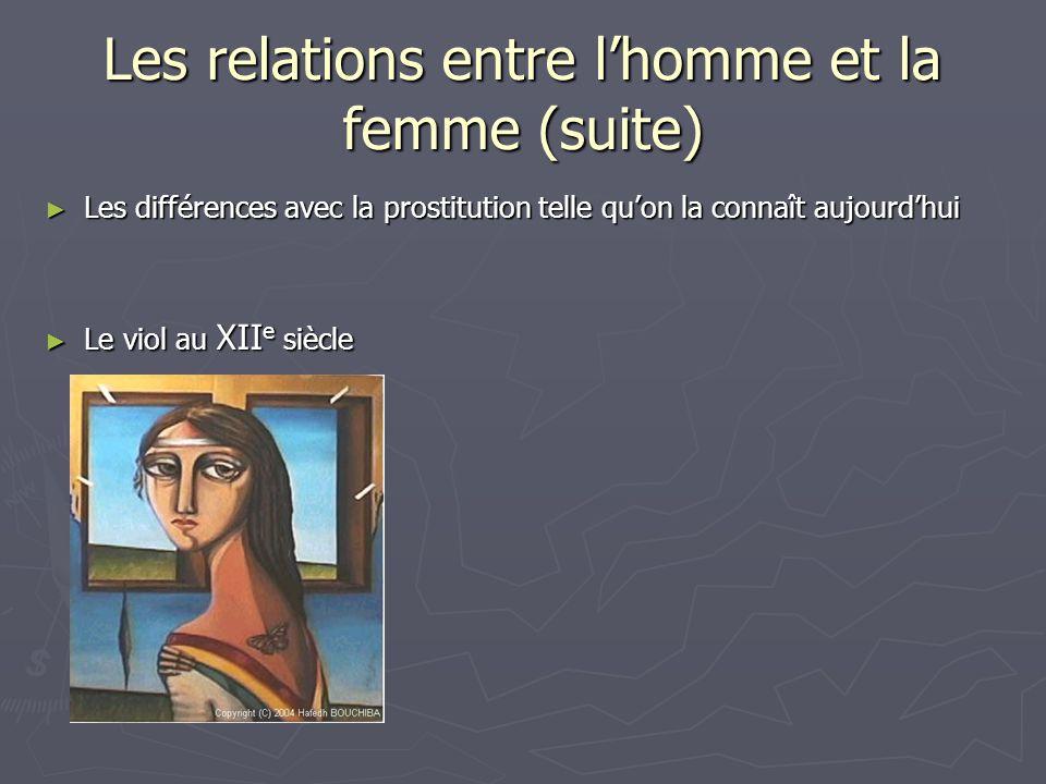 Les relations entre l'homme et la femme (suite)