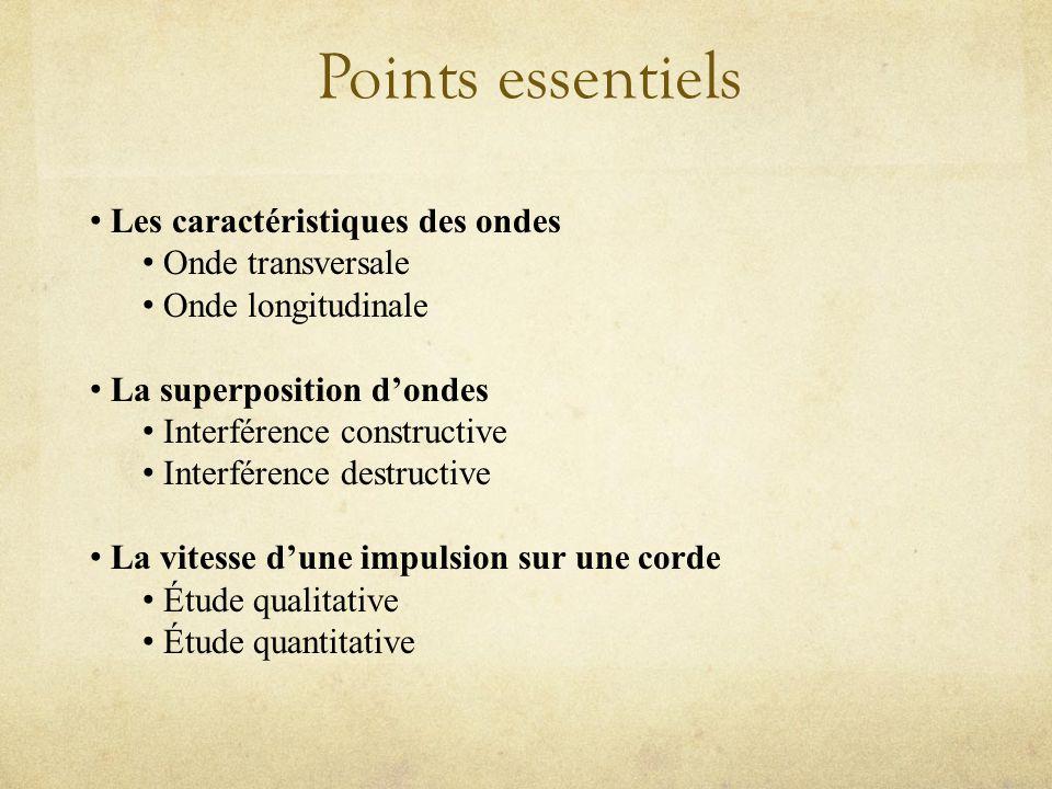 Points essentiels Les caractéristiques des ondes Onde transversale