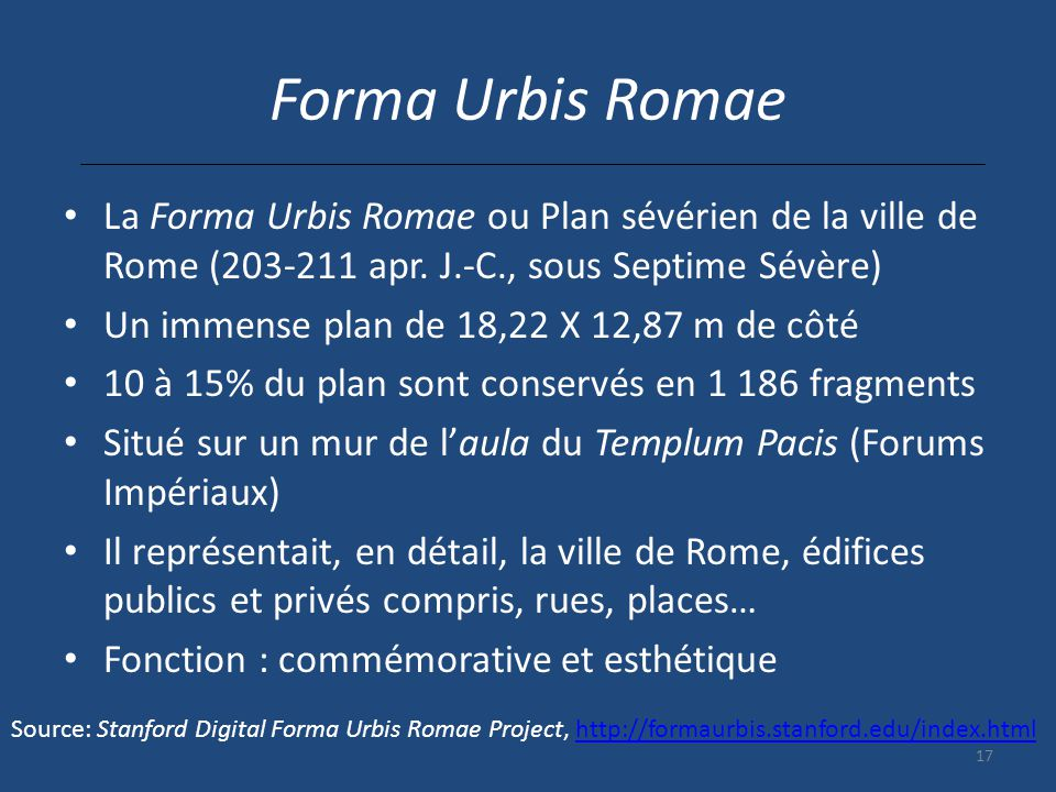 Forma Urbis Romae La Forma Urbis Romae ou Plan sévérien de la ville de Rome (203-211 apr. J.-C., sous Septime Sévère)