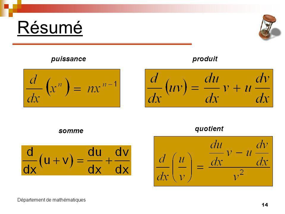 Résumé puissance produit quotient somme Département de mathématiques
