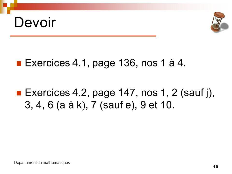 Devoir Exercices 4.1, page 136, nos 1 à 4.