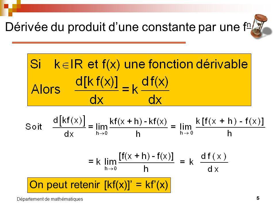 Dérivée du produit d'une constante par une fn