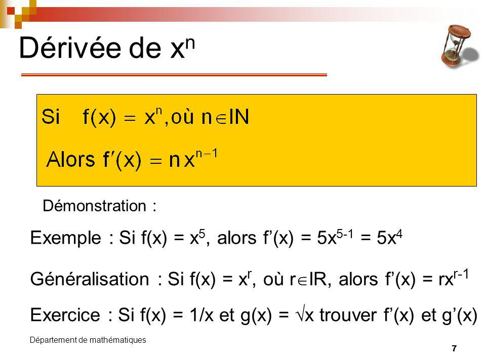 Dérivée de xn Exemple : Si f(x) = x5, alors f'(x) = 5x5-1 = 5x4