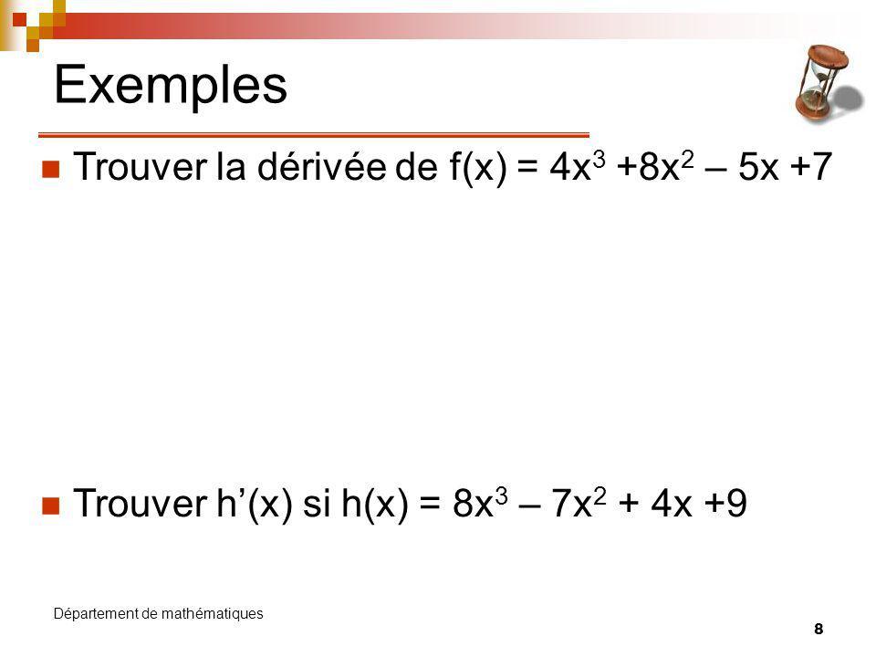 Exemples Trouver la dérivée de f(x) = 4x3 +8x2 – 5x +7