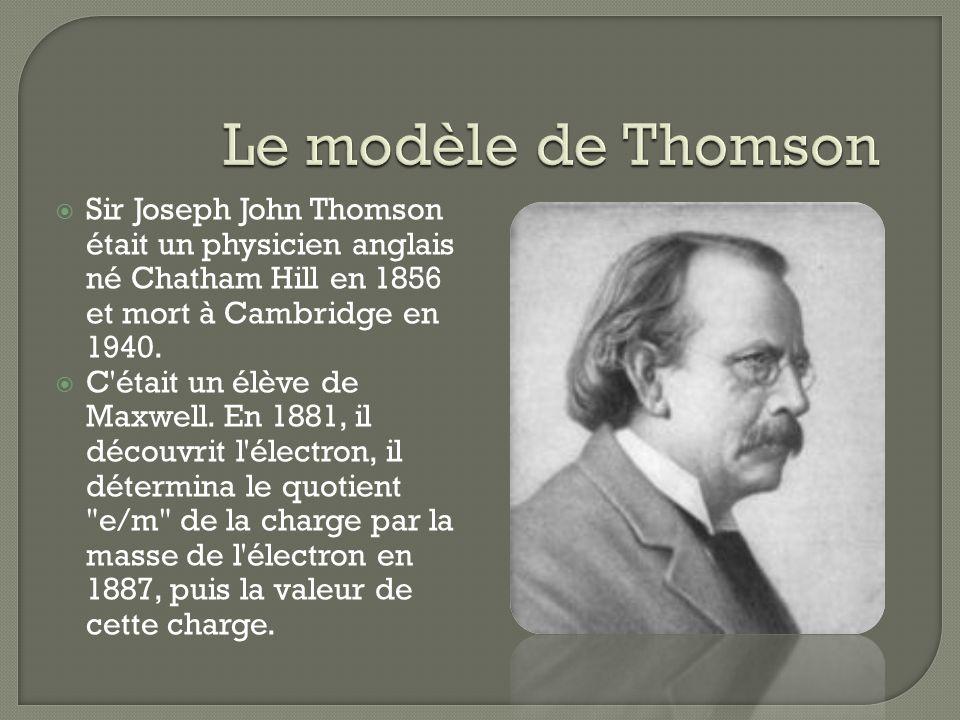 Le modèle de Thomson Sir Joseph John Thomson était un physicien anglais né Chatham Hill en 1856 et mort à Cambridge en 1940.