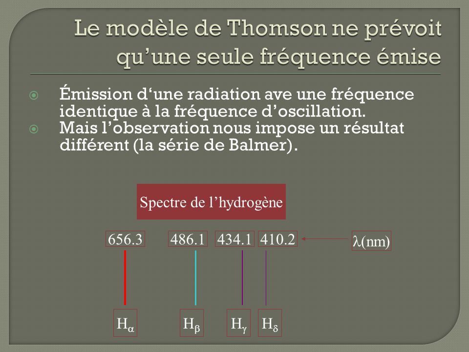 Le modèle de Thomson ne prévoit qu'une seule fréquence émise