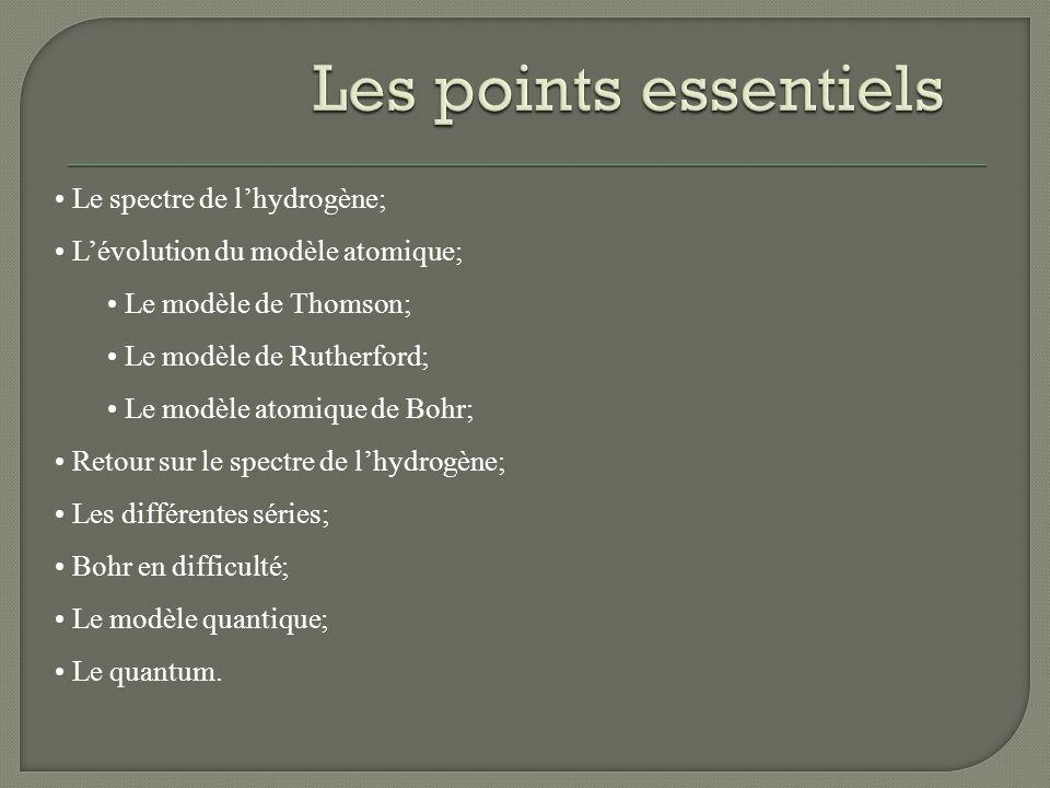 Les points essentiels Le spectre de l'hydrogène;