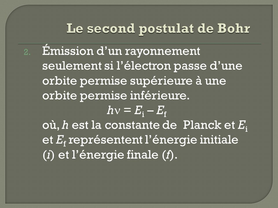 Le second postulat de Bohr