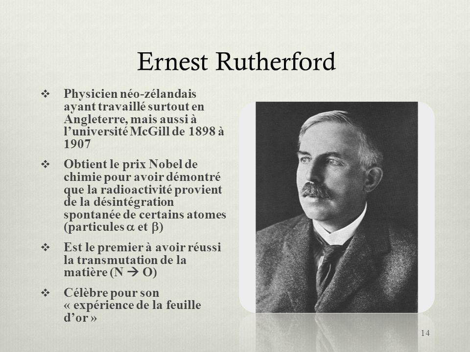 Ernest Rutherford Physicien néo-zélandais ayant travaillé surtout en Angleterre, mais aussi à l'université McGill de 1898 à 1907.