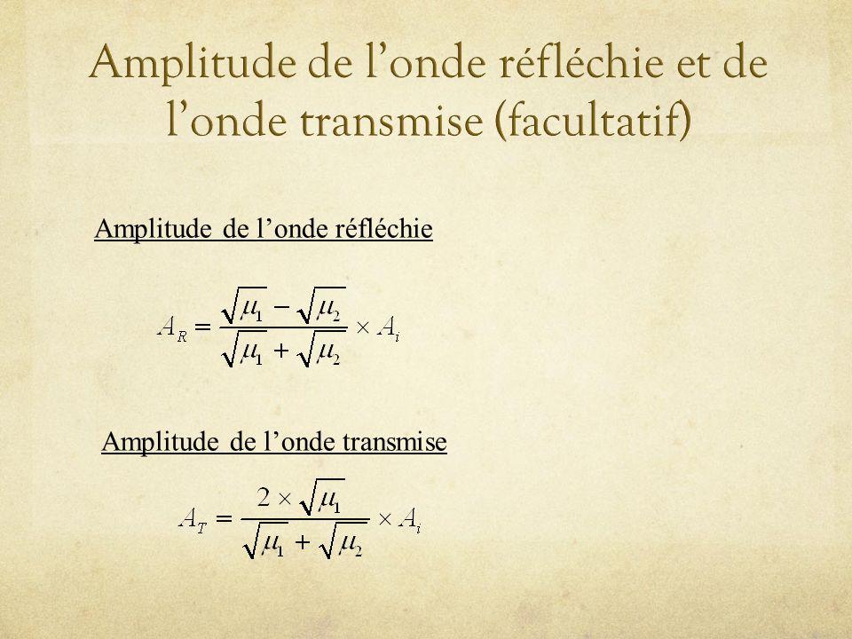Amplitude de l'onde réfléchie et de l'onde transmise (facultatif)