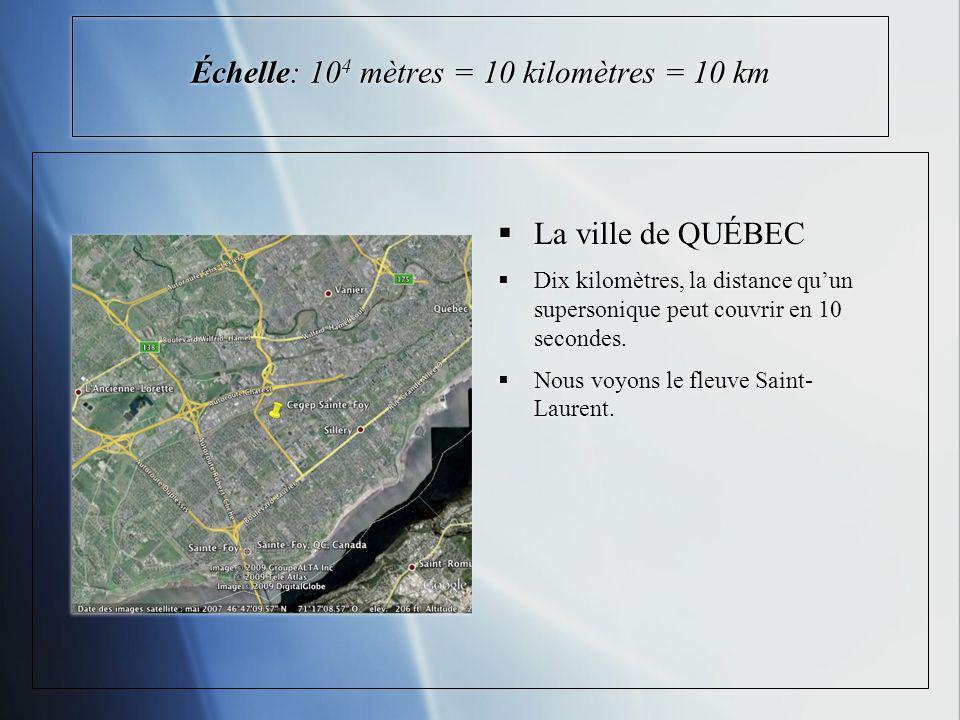 Échelle: 104 mètres = 10 kilomètres = 10 km