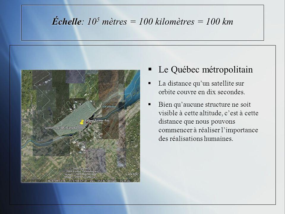 Échelle: 105 mètres = 100 kilomètres = 100 km
