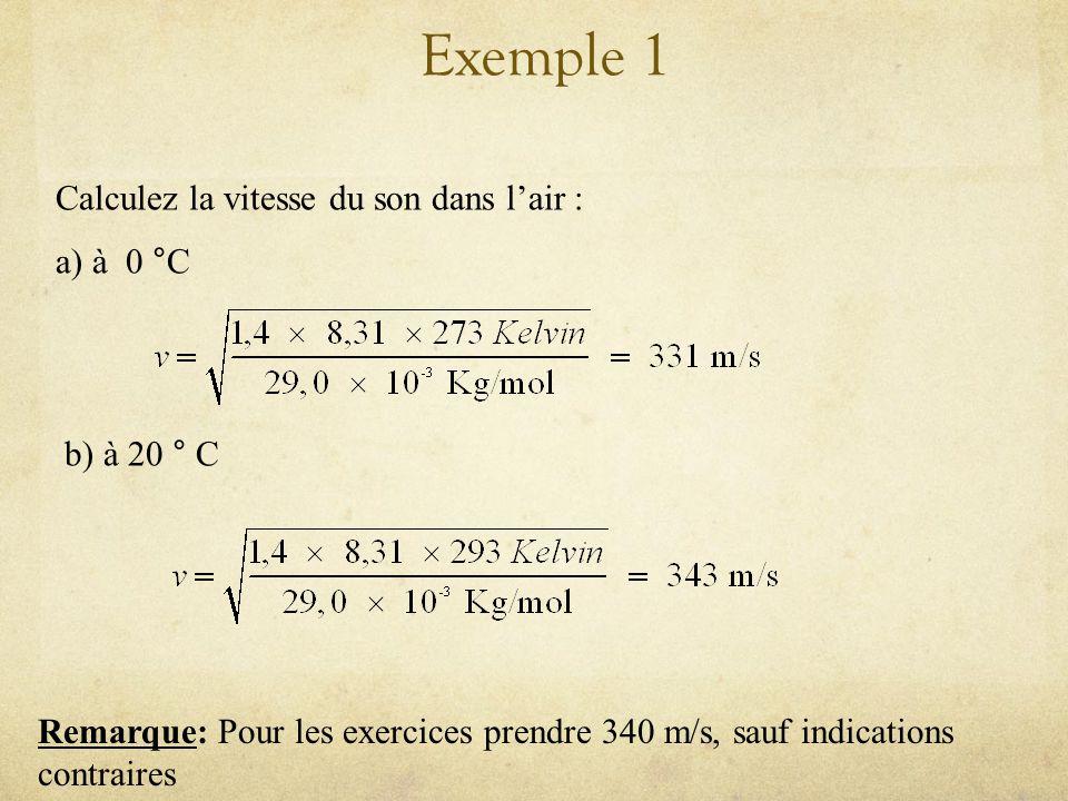 Exemple 1 Calculez la vitesse du son dans l'air : a) à 0 °C