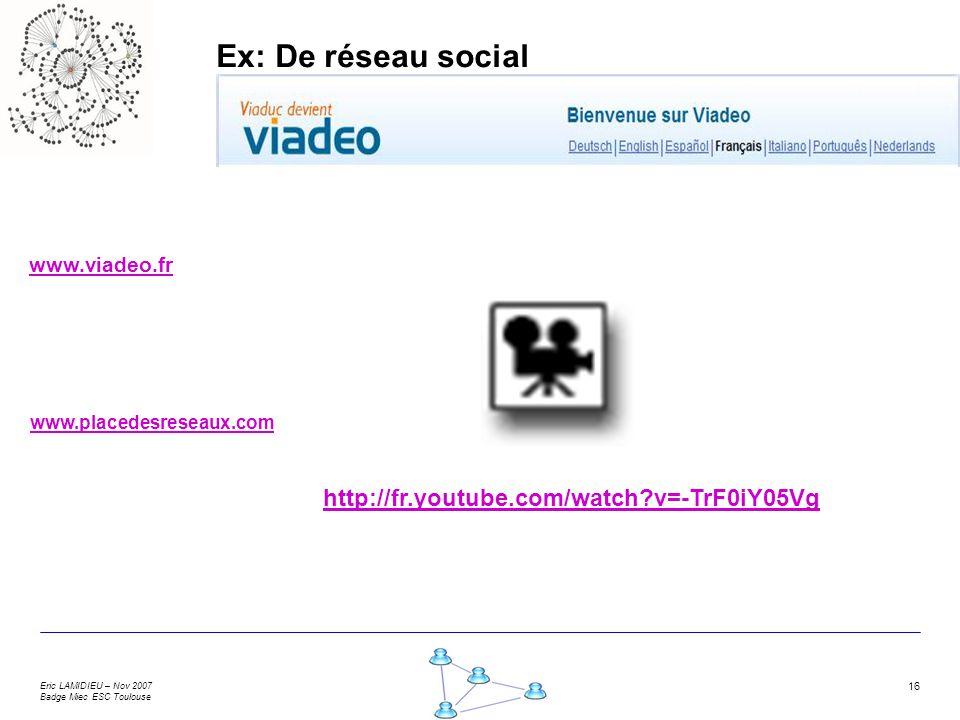 Ex: De réseau social http://fr.youtube.com/watch v=-TrF0iY05Vg