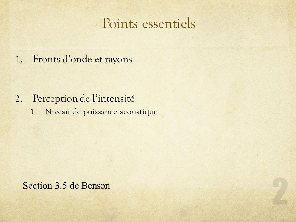 Points essentiels Fronts d'onde et rayons Perception de l'intensité