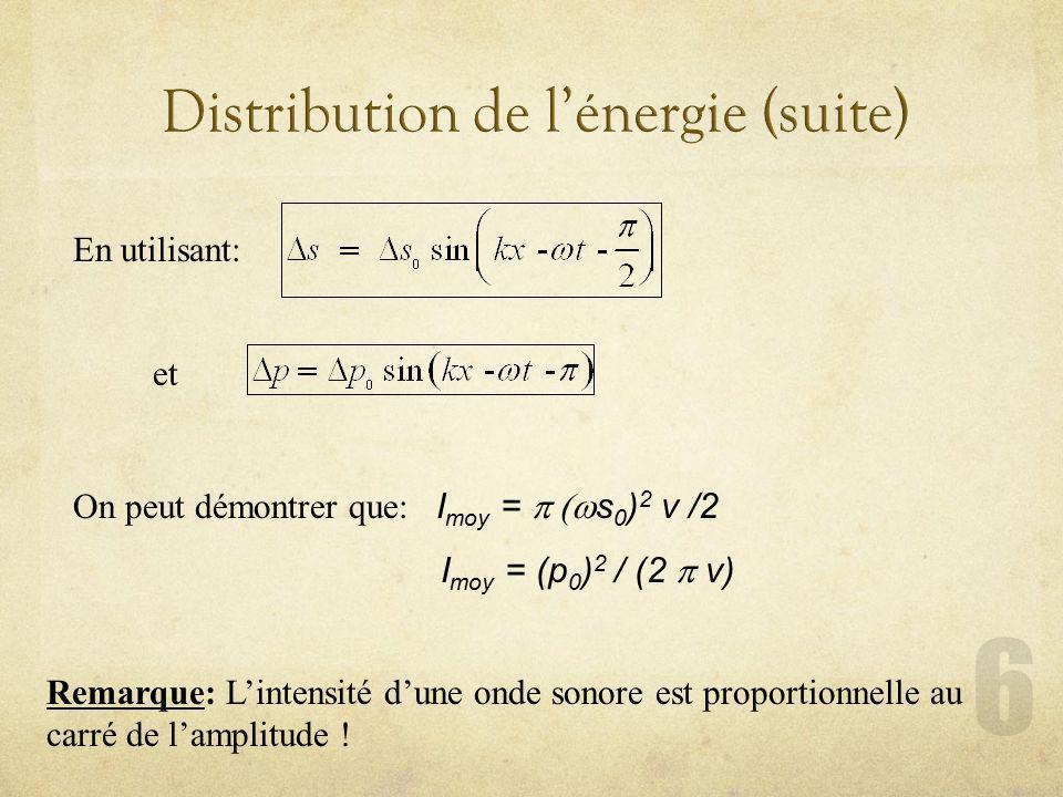 Distribution de l'énergie (suite)