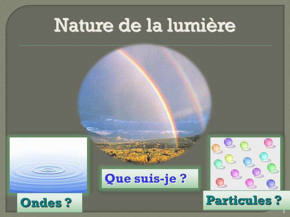 Nature de la lumière Que suis-je Particules Ondes