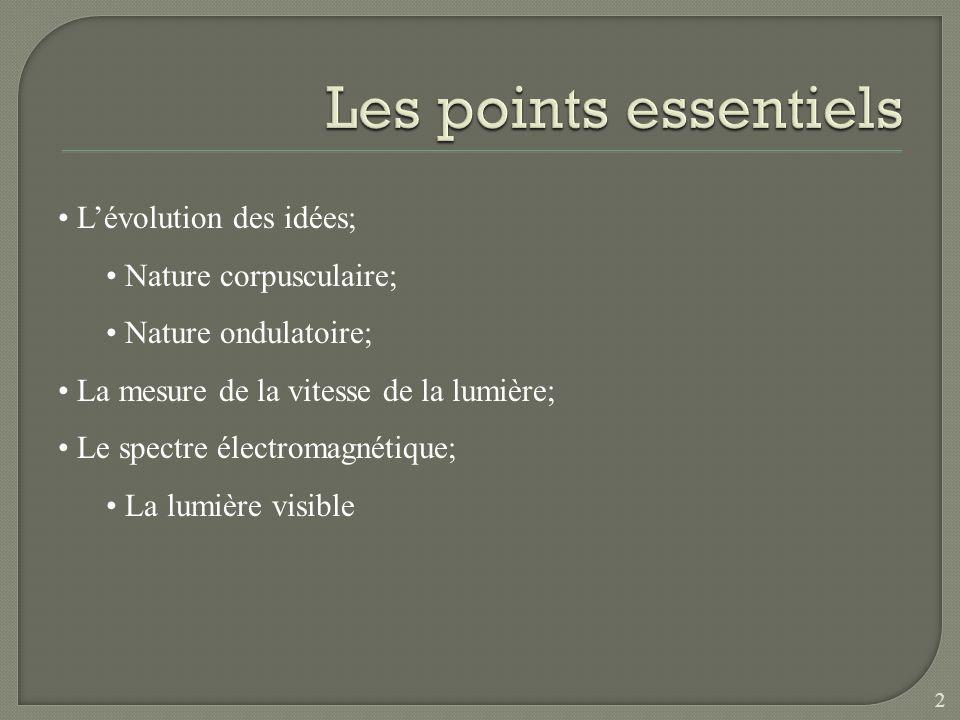 Les points essentiels L'évolution des idées; Nature corpusculaire;