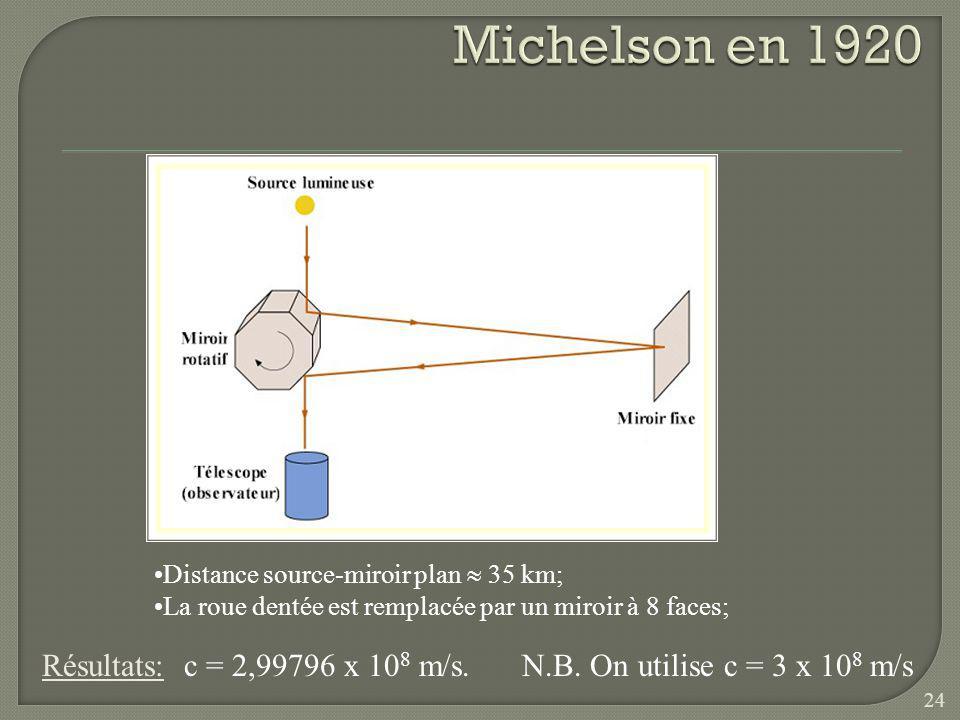 Michelson en 1920 Résultats: c = 2,99796 x 108 m/s.