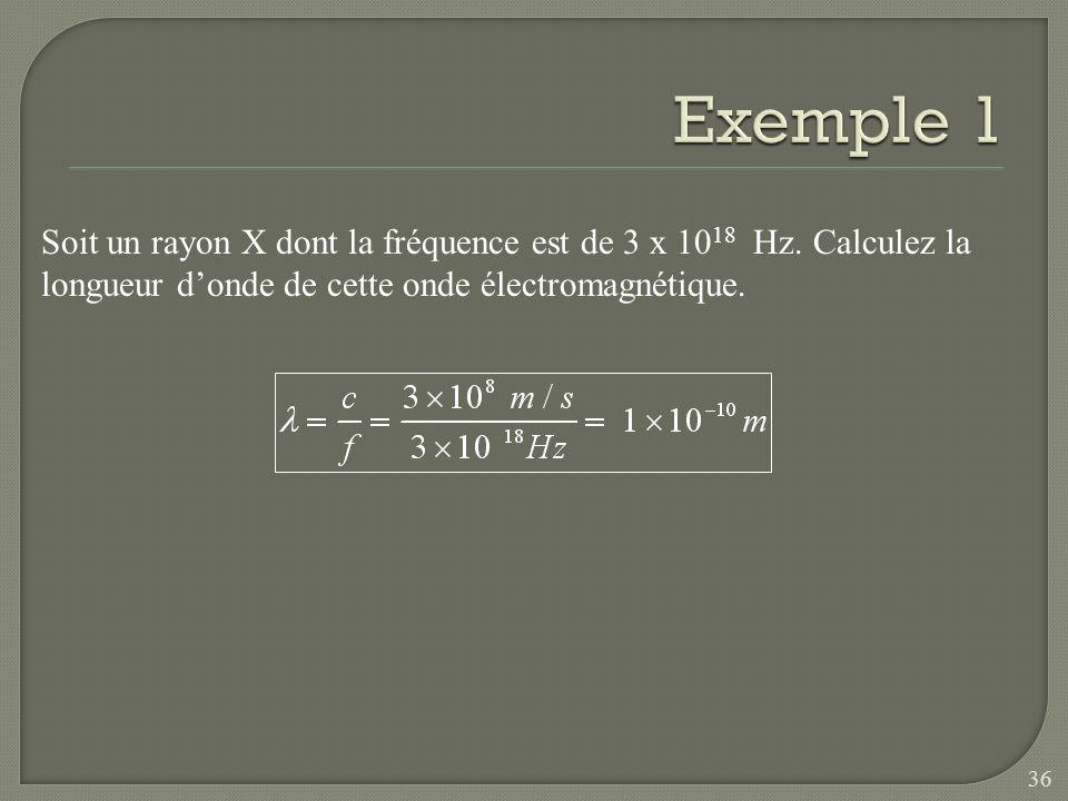 Exemple 1 Soit un rayon X dont la fréquence est de 3 x 1018 Hz.