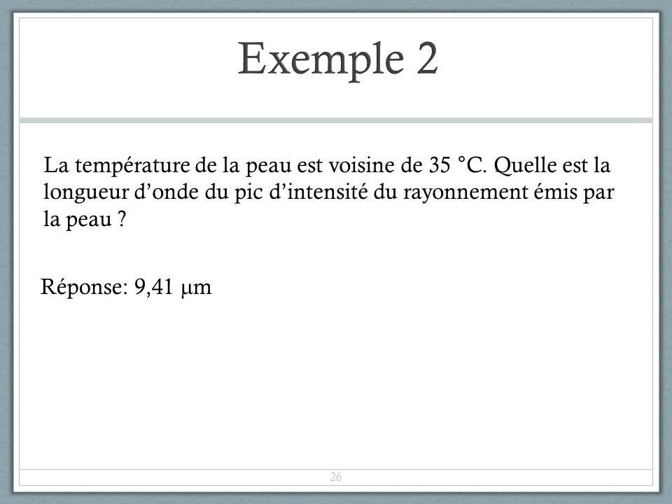 Exemple 2 La température de la peau est voisine de 35 °C. Quelle est la longueur d'onde du pic d'intensité du rayonnement émis par la peau