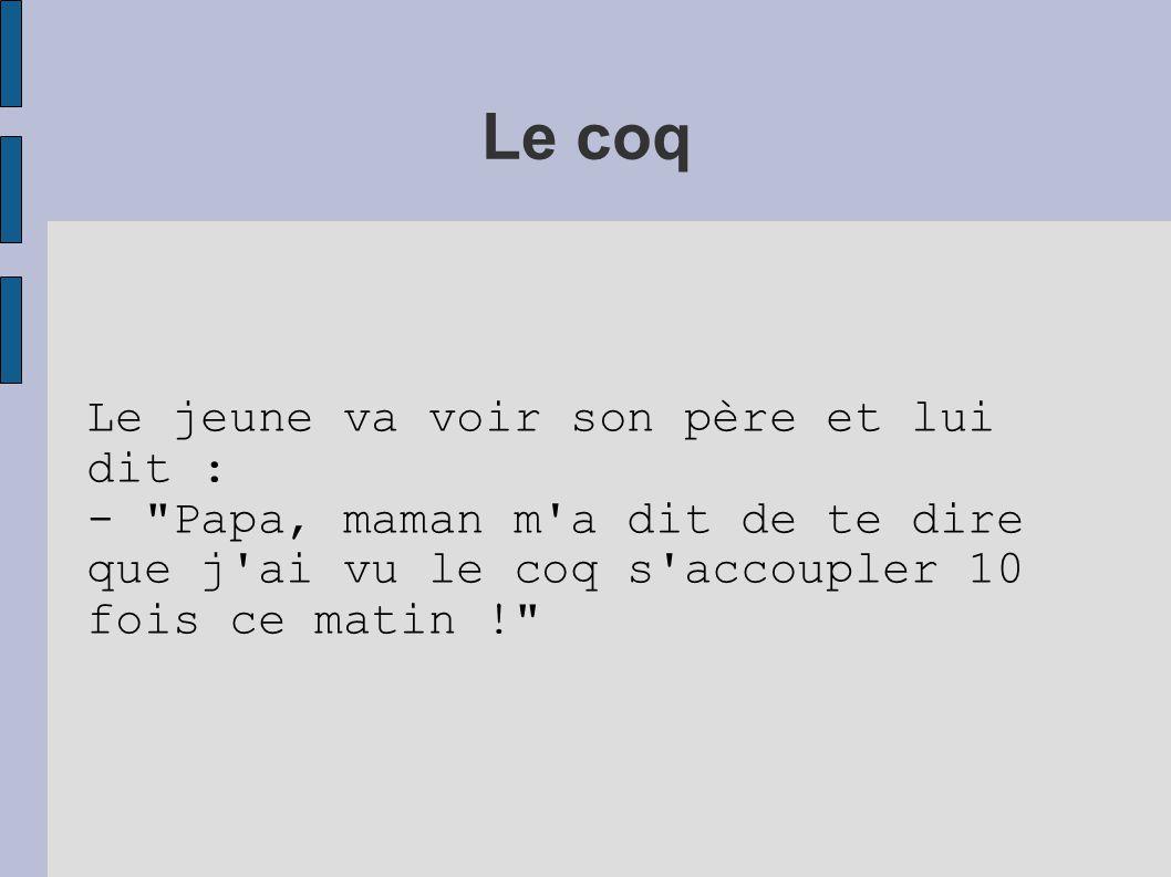 Le coq Le jeune va voir son père et lui dit :