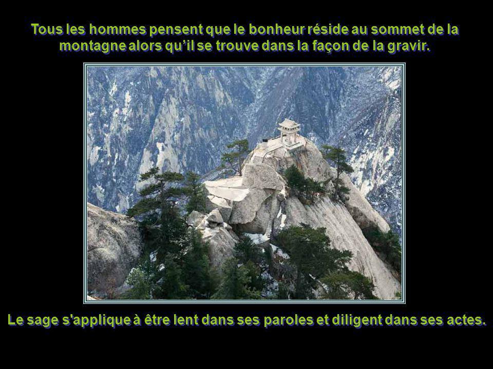 Tous les hommes pensent que le bonheur réside au sommet de la montagne alors qu'il se trouve dans la façon de la gravir.