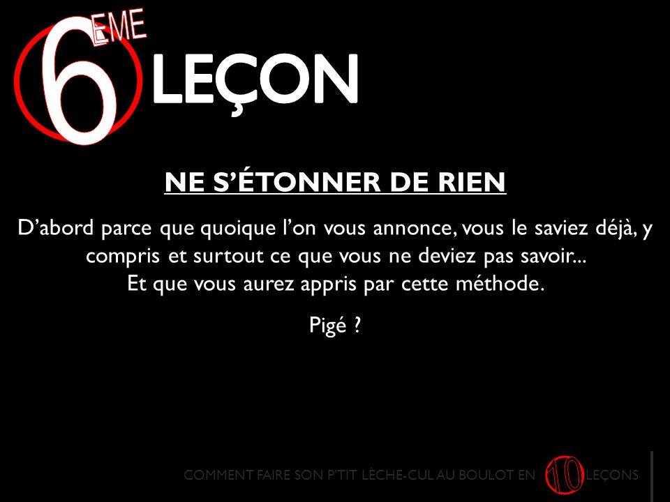 EME 6 LECON 10 NE S'ÉTONNER DE RIEN