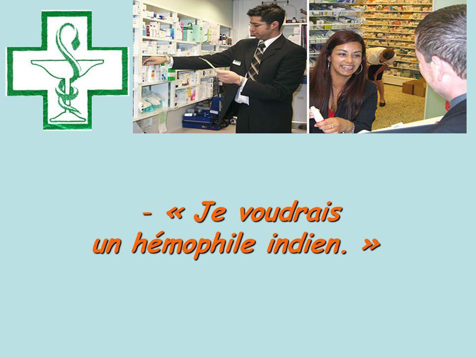 « Je voudrais un hémophile indien. »