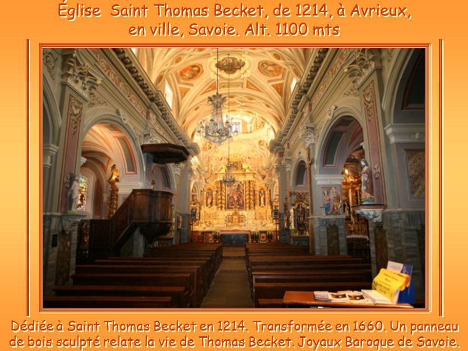 Église Saint Thomas Becket, de 1214, à Avrieux, en ville, Savoie. Alt