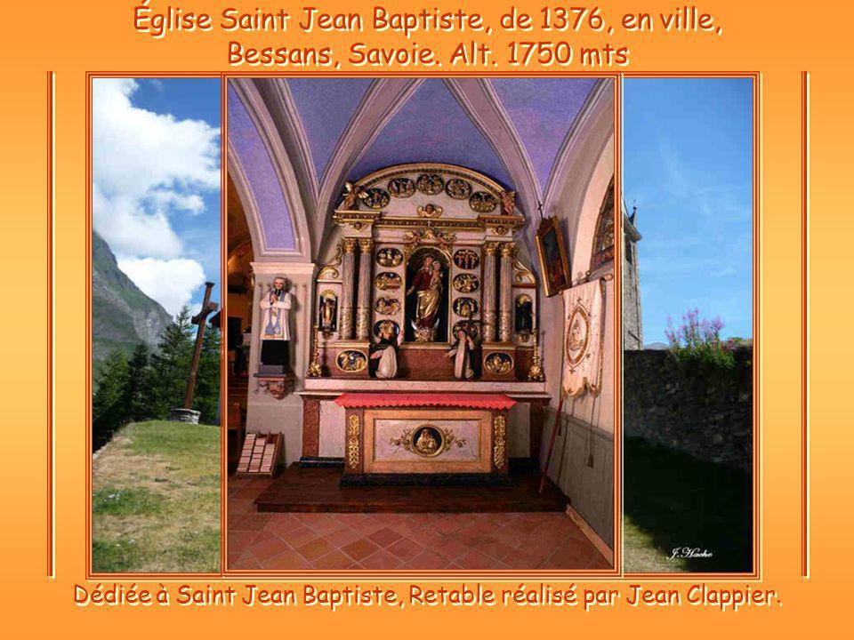 Dédiée à Saint Jean Baptiste, Retable réalisé par Jean Clappier.