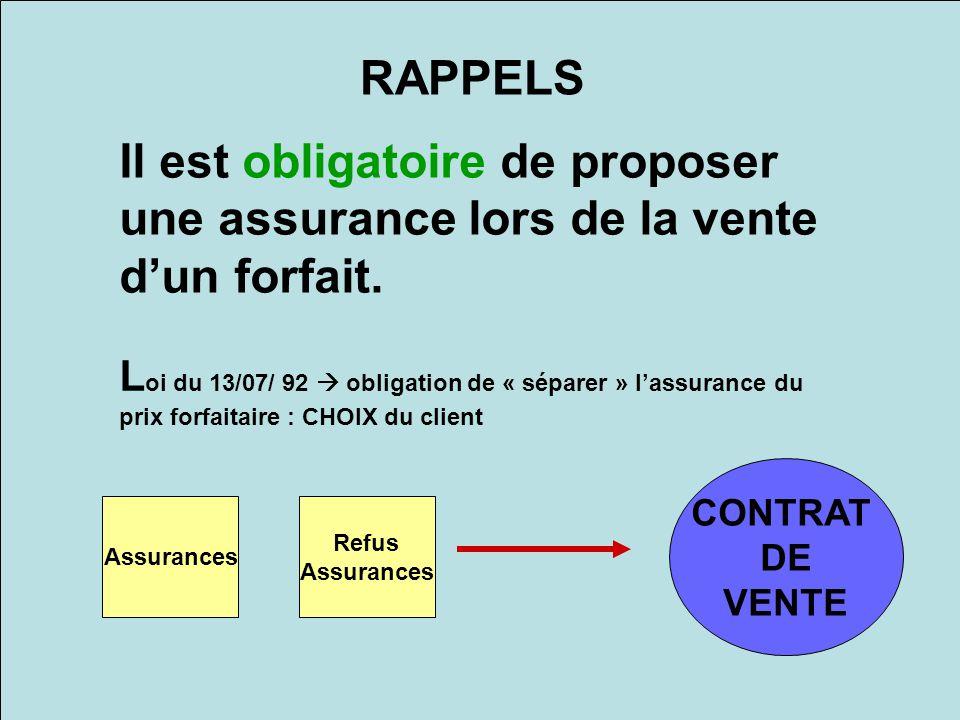 RAPPELS Il est obligatoire de proposer une assurance lors de la vente d'un forfait.