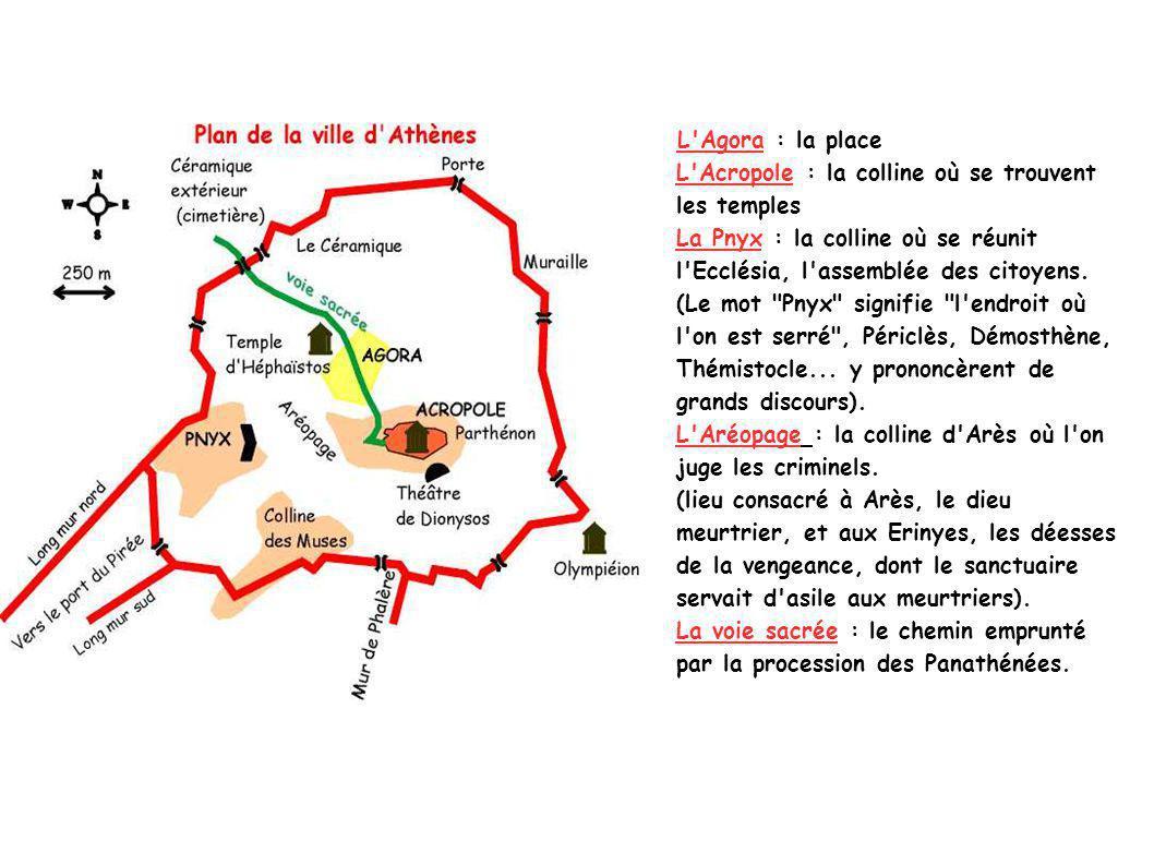 L Agora : la place L Acropole : la colline où se trouvent les temples La Pnyx : la colline où se réunit l Ecclésia, l assemblée des citoyens.