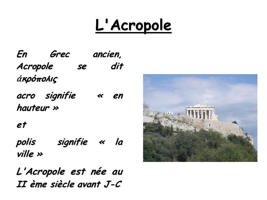 L Acropole L Acropole est née au II ème siècle avant J-C