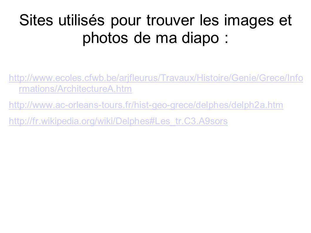 Sites utilisés pour trouver les images et photos de ma diapo :