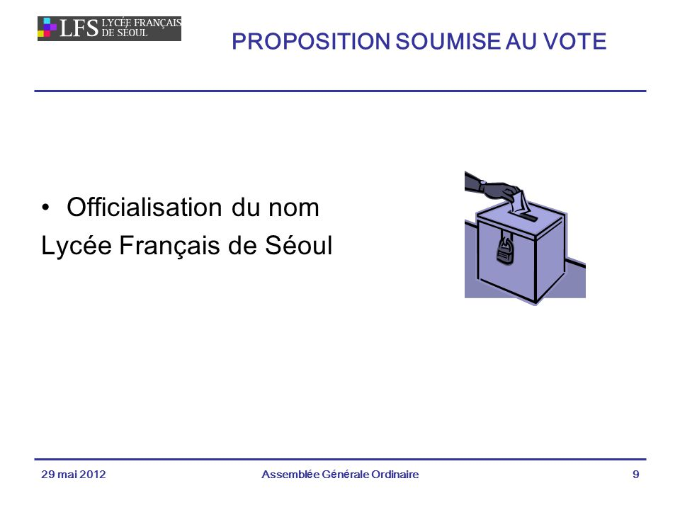 PROPOSITION SOUMISE AU VOTE