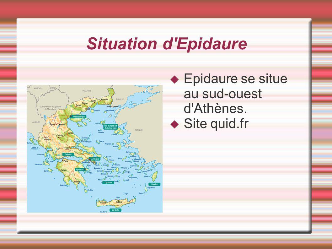 Situation d Epidaure Epidaure se situe au sud-ouest d Athènes.