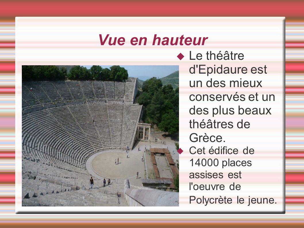 Vue en hauteur Le théâtre d Epidaure est un des mieux conservés et un des plus beaux théâtres de Grèce.