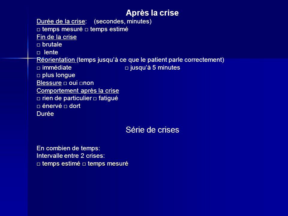 Après la crise Série de crises Durée de la crise: (secondes, minutes)