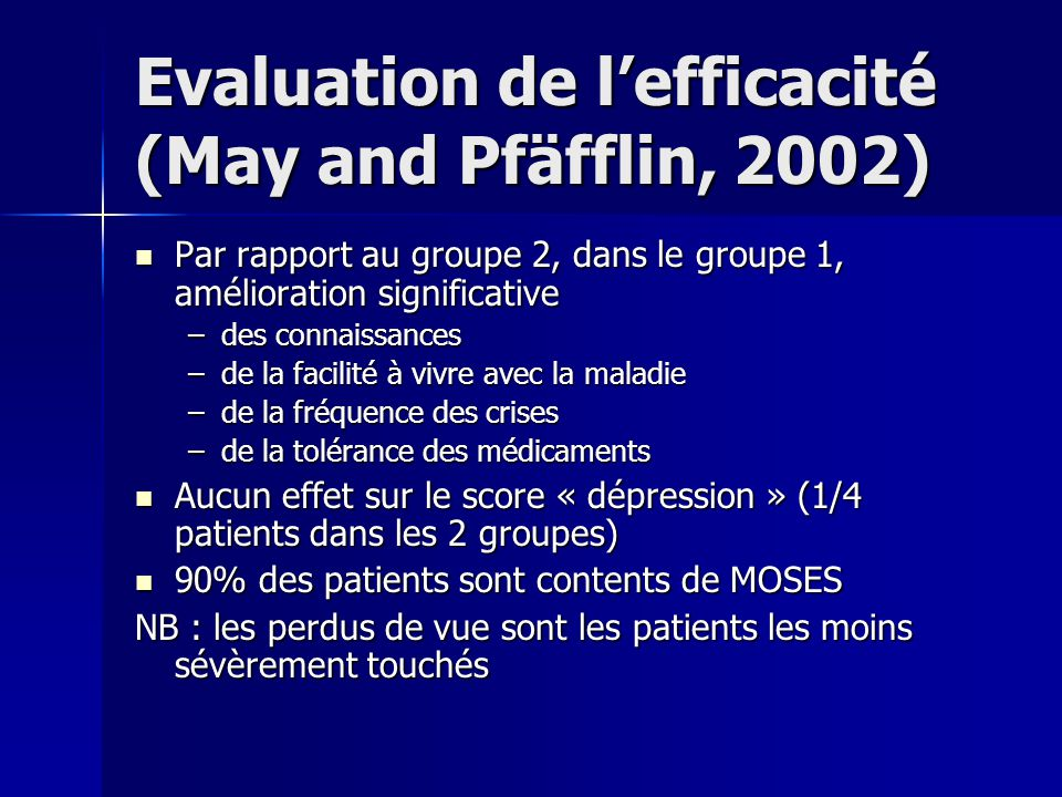 Evaluation de l'efficacité (May and Pfäfflin, 2002)