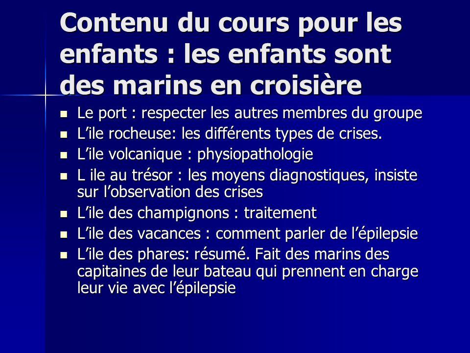 Contenu du cours pour les enfants : les enfants sont des marins en croisière