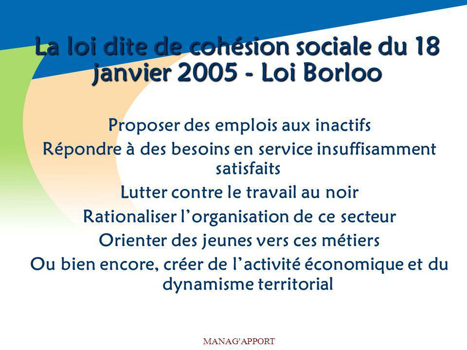La loi dite de cohésion sociale du 18 janvier 2005 - Loi Borloo
