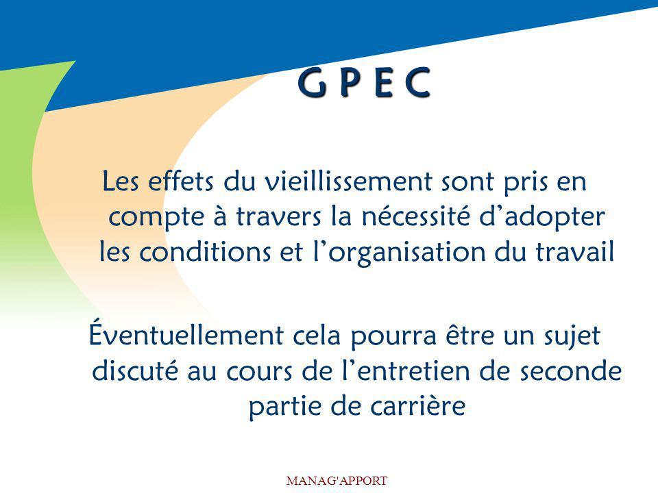 G P E C Les effets du vieillissement sont pris en compte à travers la nécessité d'adopter les conditions et l'organisation du travail.