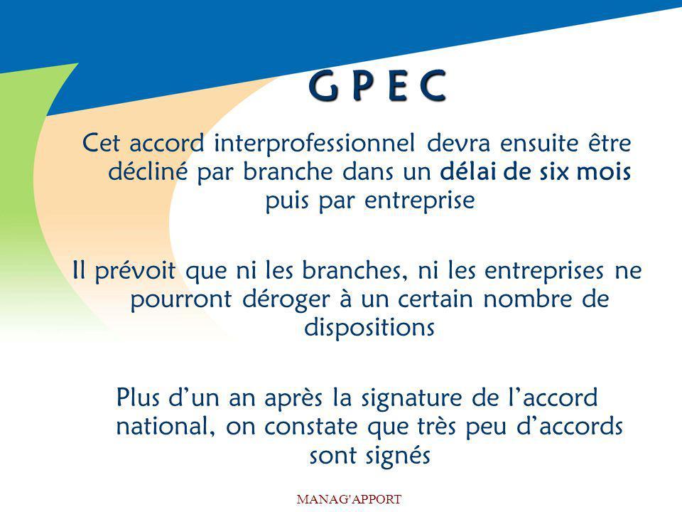 G P E C Cet accord interprofessionnel devra ensuite être décliné par branche dans un délai de six mois puis par entreprise.