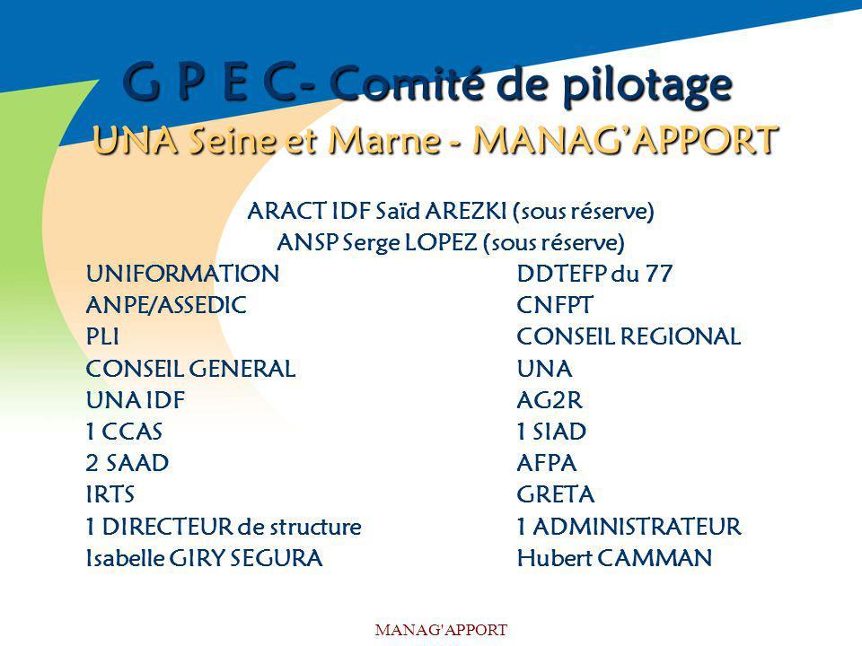G P E C- Comité de pilotage UNA Seine et Marne - MANAG'APPORT