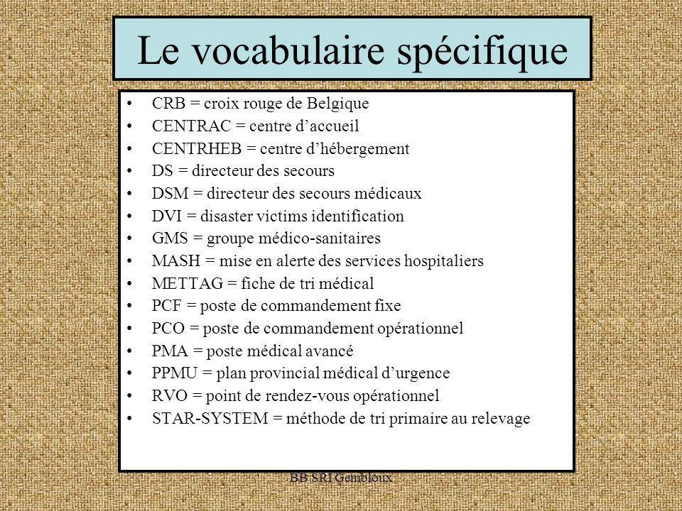 Le vocabulaire spécifique