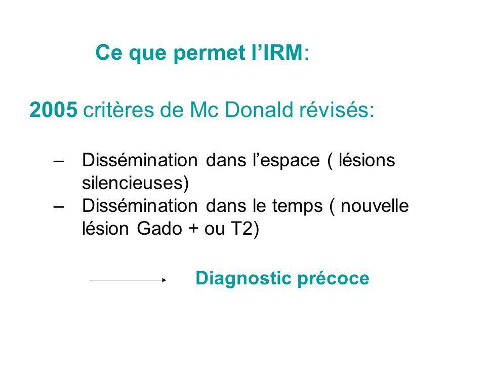 Les critères Ce que permet l'IRM: 2005 critères de Mc Donald révisés: