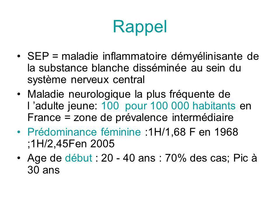 Rappel SEP = maladie inflammatoire démyélinisante de la substance blanche disséminée au sein du système nerveux central.