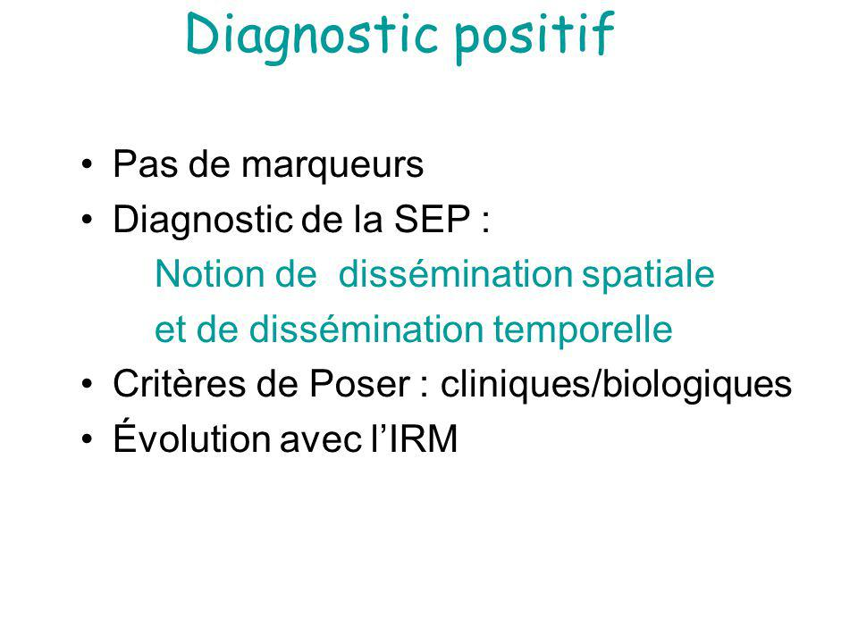 Diagnostic positif Pas de marqueurs Diagnostic de la SEP :