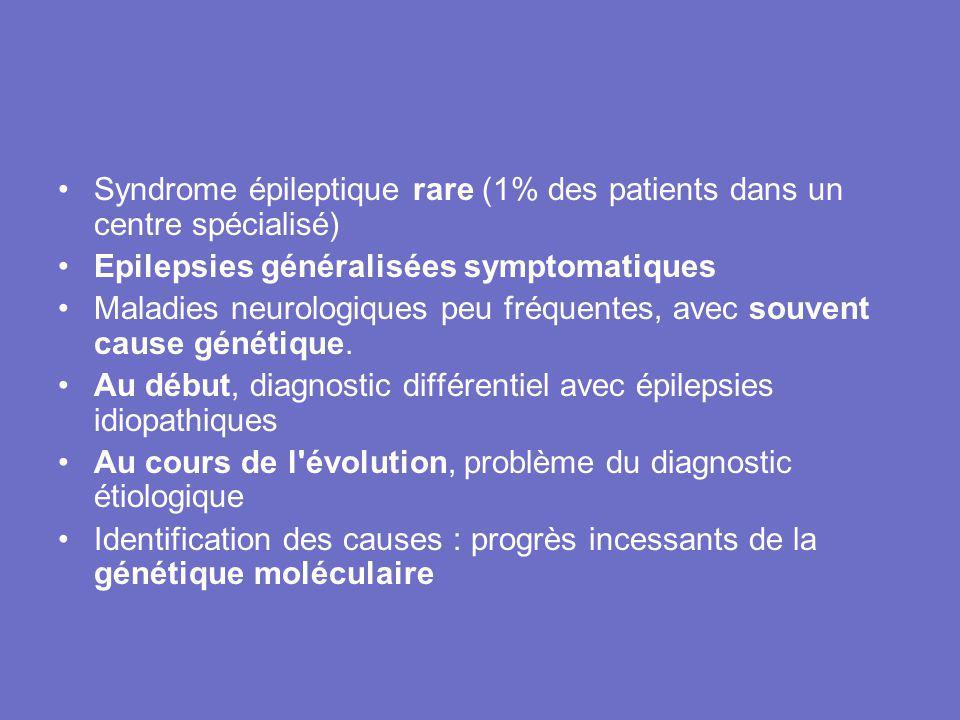 Syndrome épileptique rare (1% des patients dans un centre spécialisé)